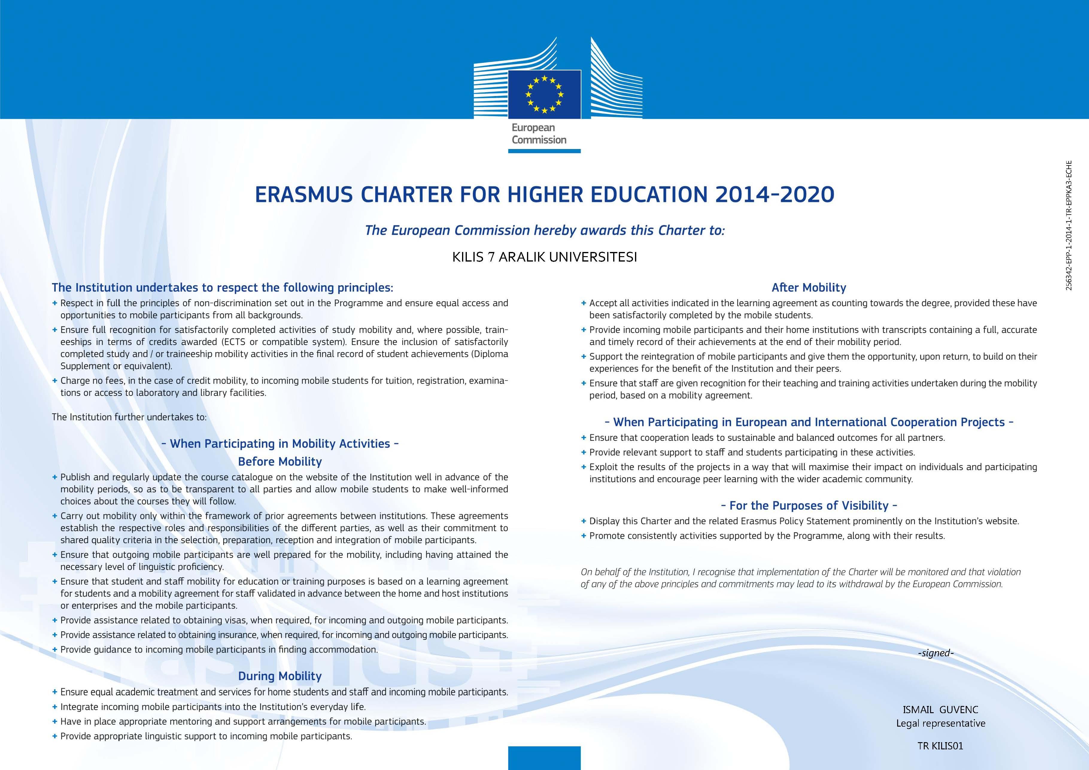 K7AU Erasmus+ University Charter